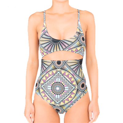 One Piece by Ivory Daze Aztec Cut Out One Piece Swimsuit
