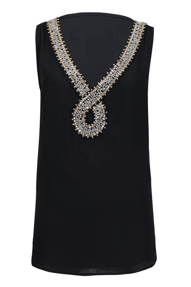 by Queenspark Black Bead Front Top