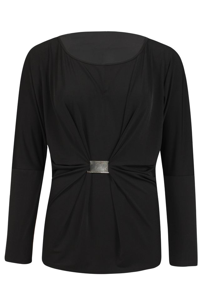 by Queenspark Black Buckle Trim Top