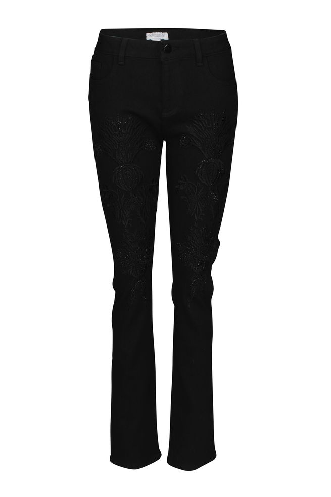 by Queenspark Black Embroidered Leg Jean