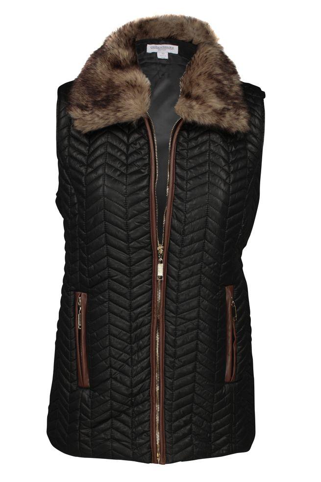 by Queenspark Black Fur Collar Vest