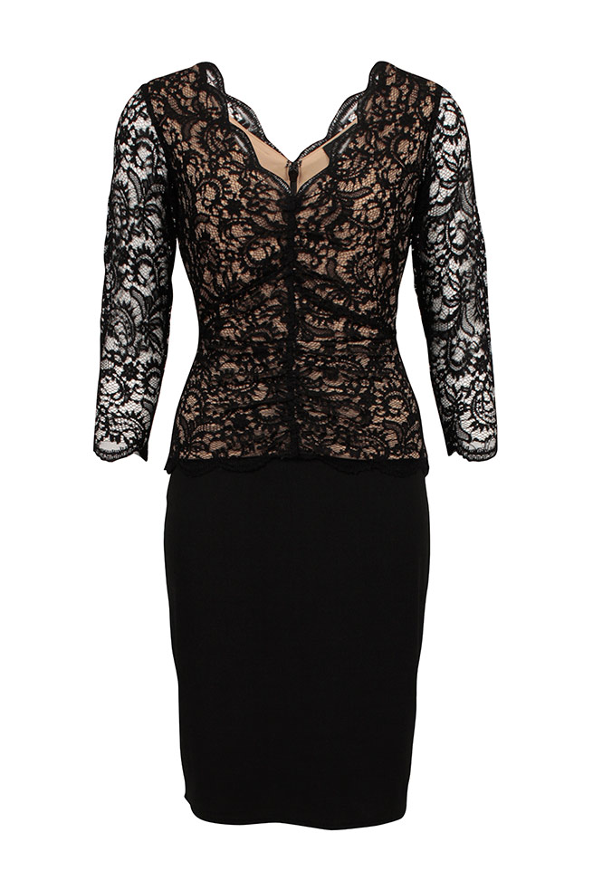 by Queenspark Black Lace Bodice Dress