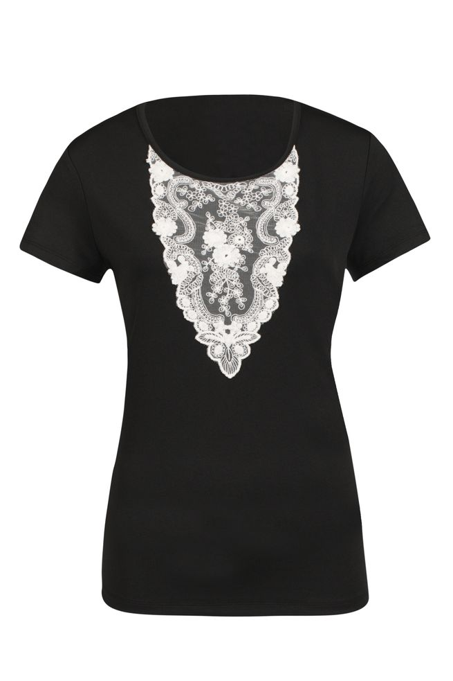 by Queenspark Black Lace Lady Detailed Top