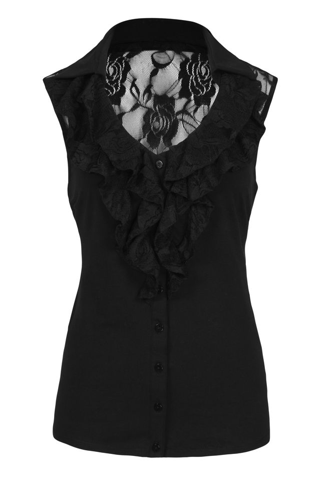 by Queenspark Black Lace Ruffle Top