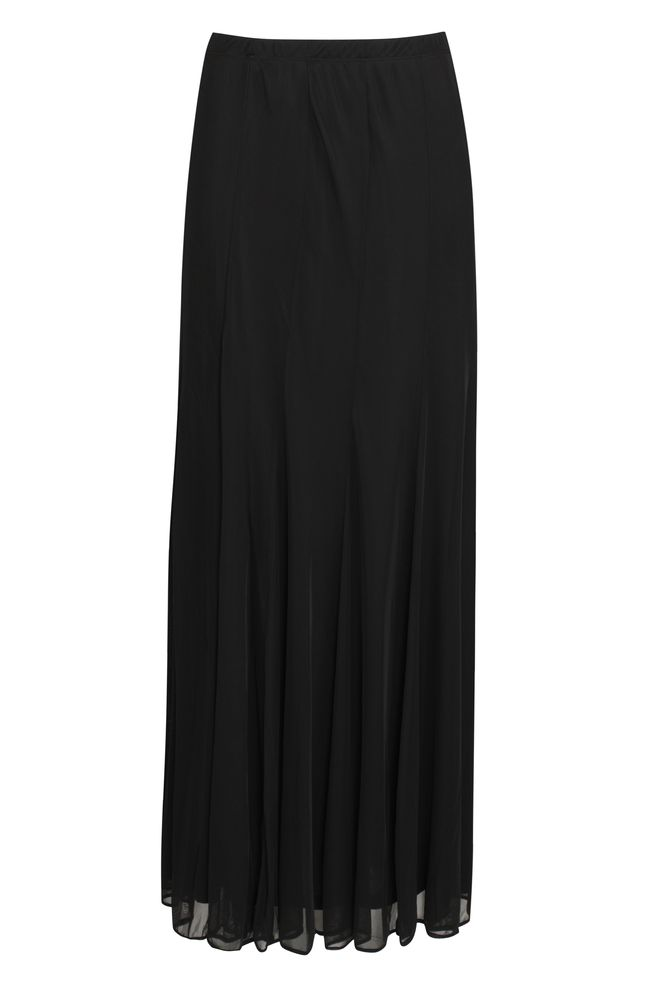 by Queenspark Black Long Chiffon Skirt