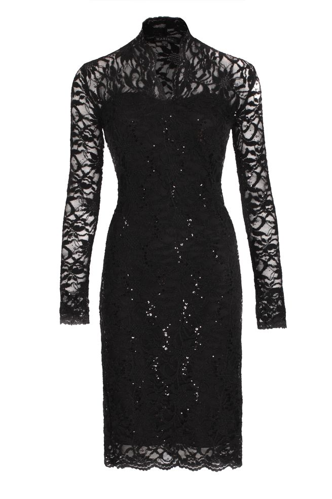 by Queenspark Black Long Sleeve Lace Dress