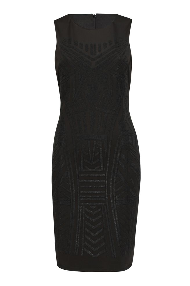 by Queenspark Black Placement Bead Front Dress
