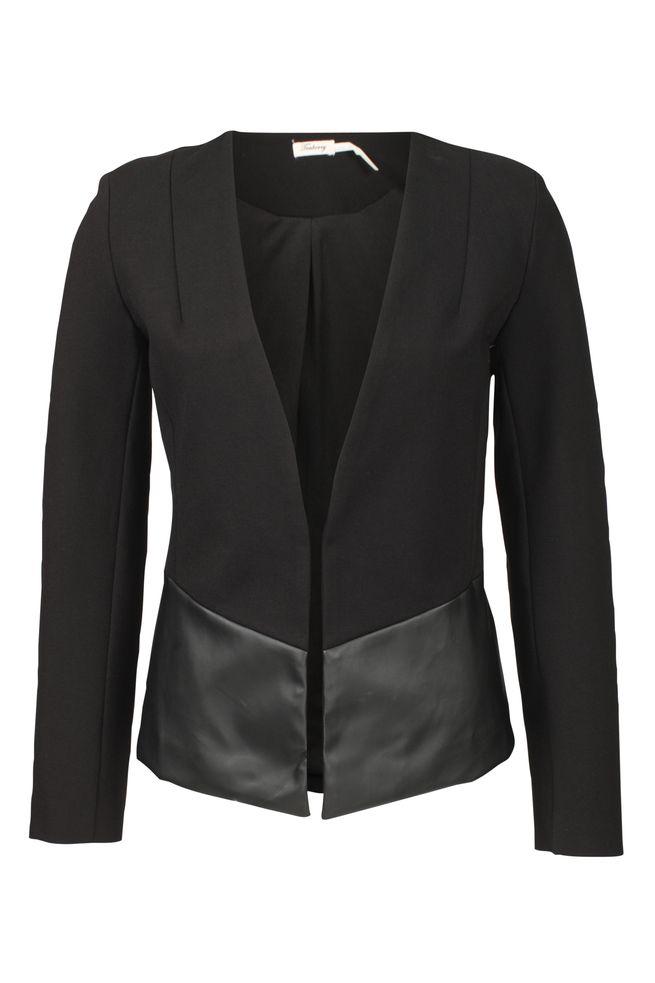 by Queenspark Black Pleather Trim Jacket