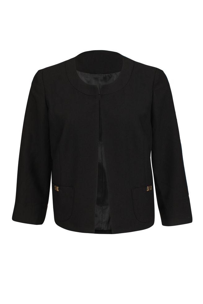 by Queenspark Black Pocket Trim Crop Jacket