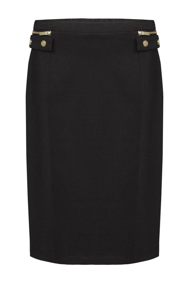 by Queenspark Black Ponti Zip Skirt