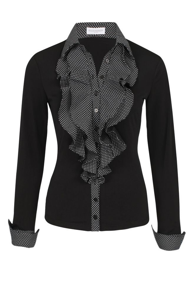 by Queenspark Black Ruffle Detail Blouse