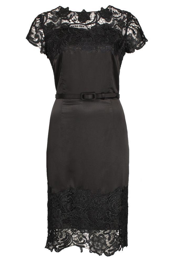 by Queenspark Black Trim Lace Dress