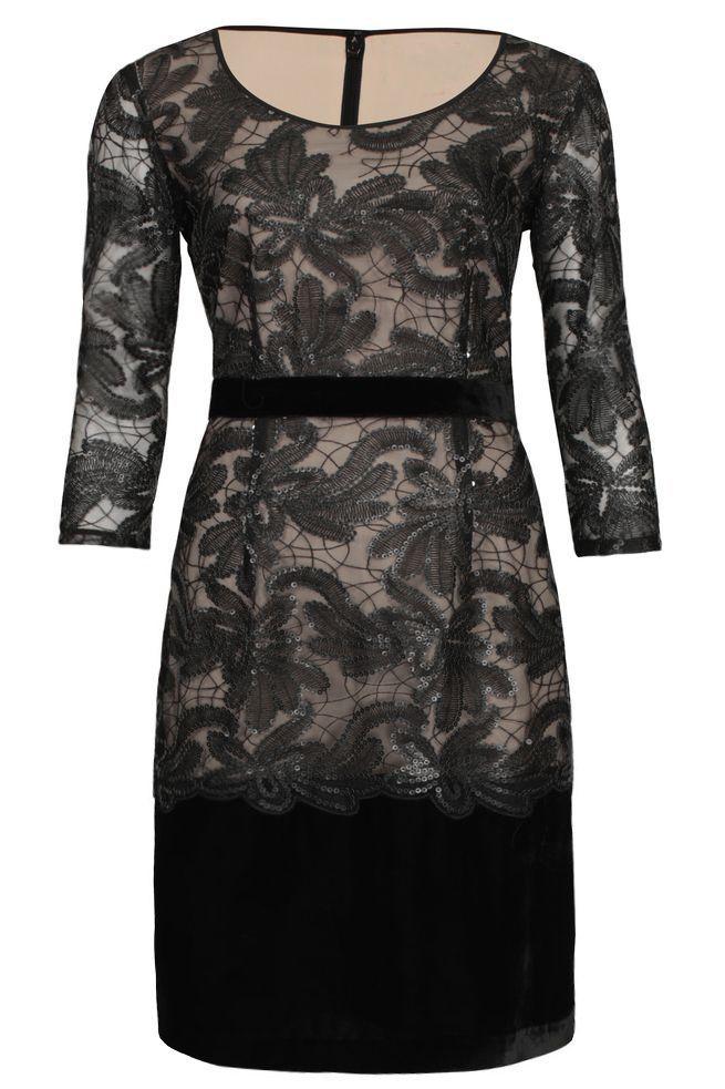 by Queenspark Black Velvet Embellished Dress