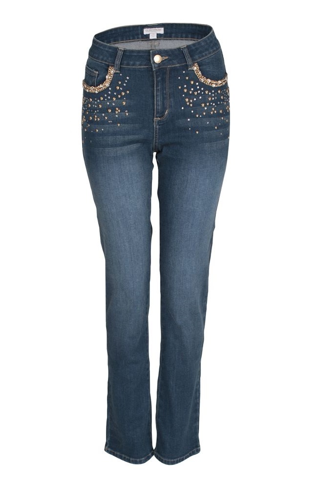 by Queenspark Blue Chain Embllished Jean