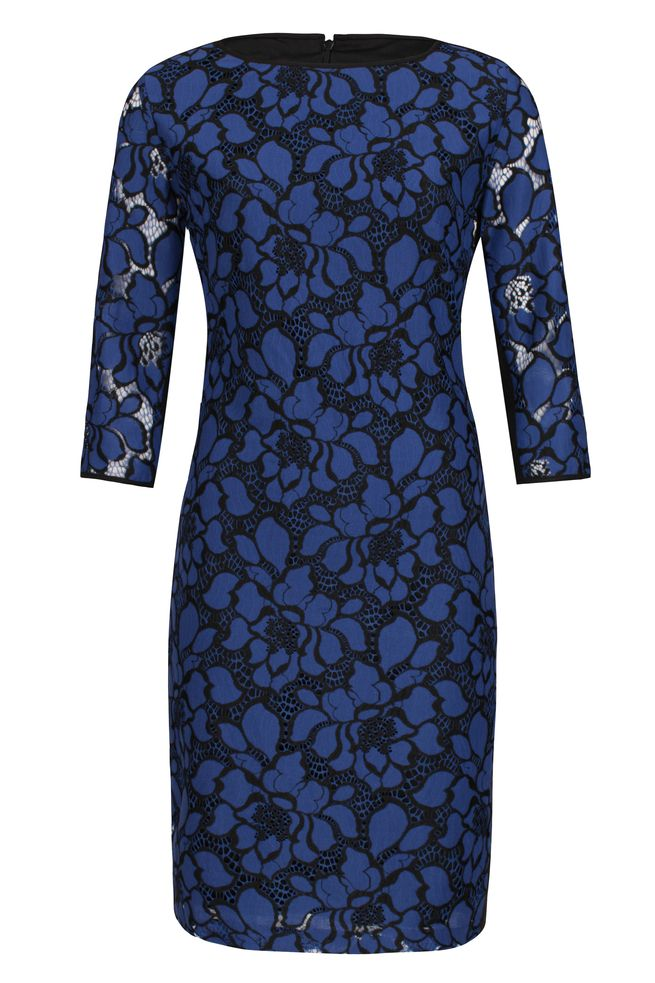 by Queenspark Blue Floral Lace Dress