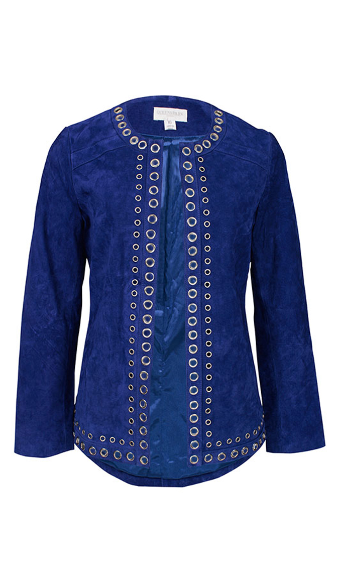 by Queenspark Blue Suede Eyelet Jacket