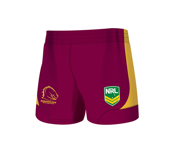 by ISC Brisbane Broncos Home Supporter Shorts 2 Pack