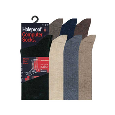 Piece by Holeproof Computer Socks Mens Wool Blend