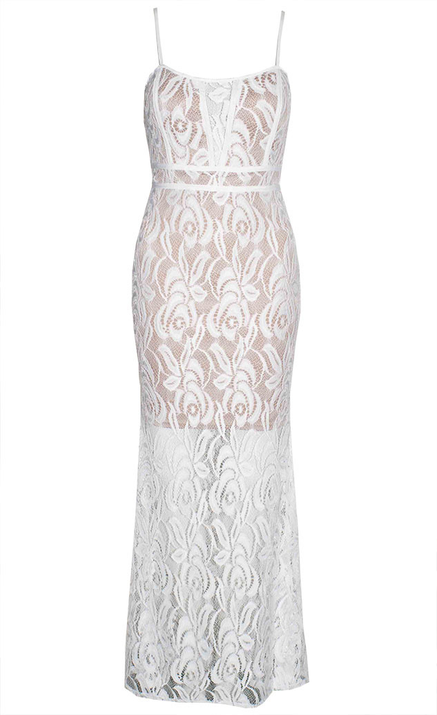 by Little Party Dress Frosted White Lace Maxi Dress