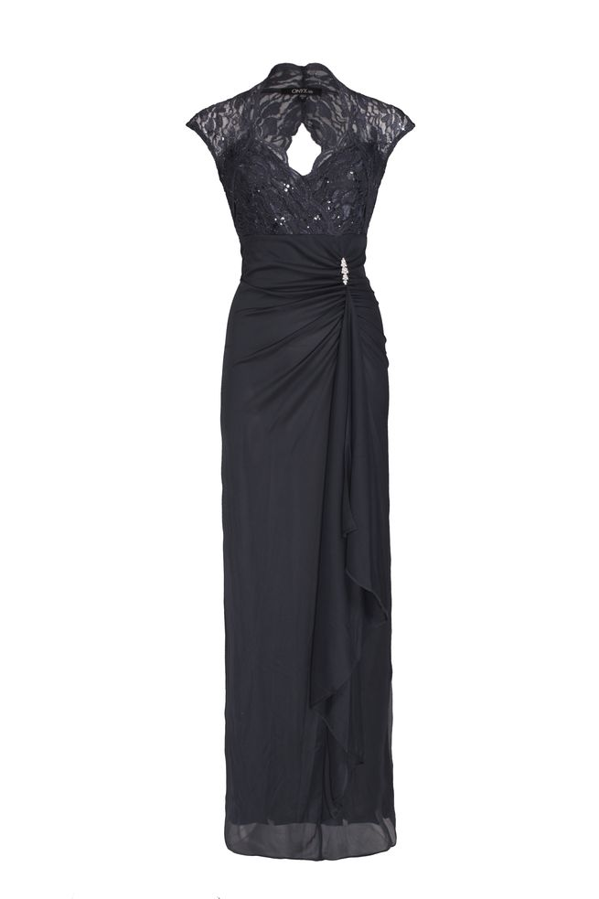 by Queenspark Grey Ruched Front Gown