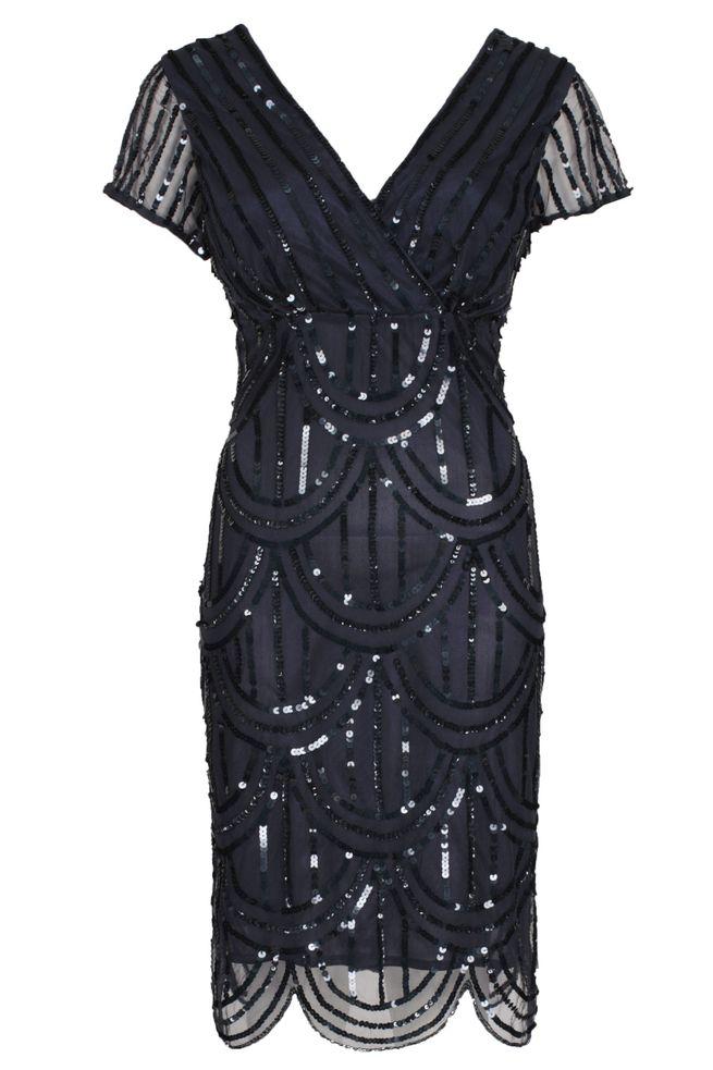 by Queenspark Navy Full Sequin Dress