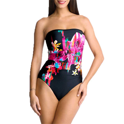 Maillot by Isola by Megan Gale Night Life Ruched Bandeau Maillot