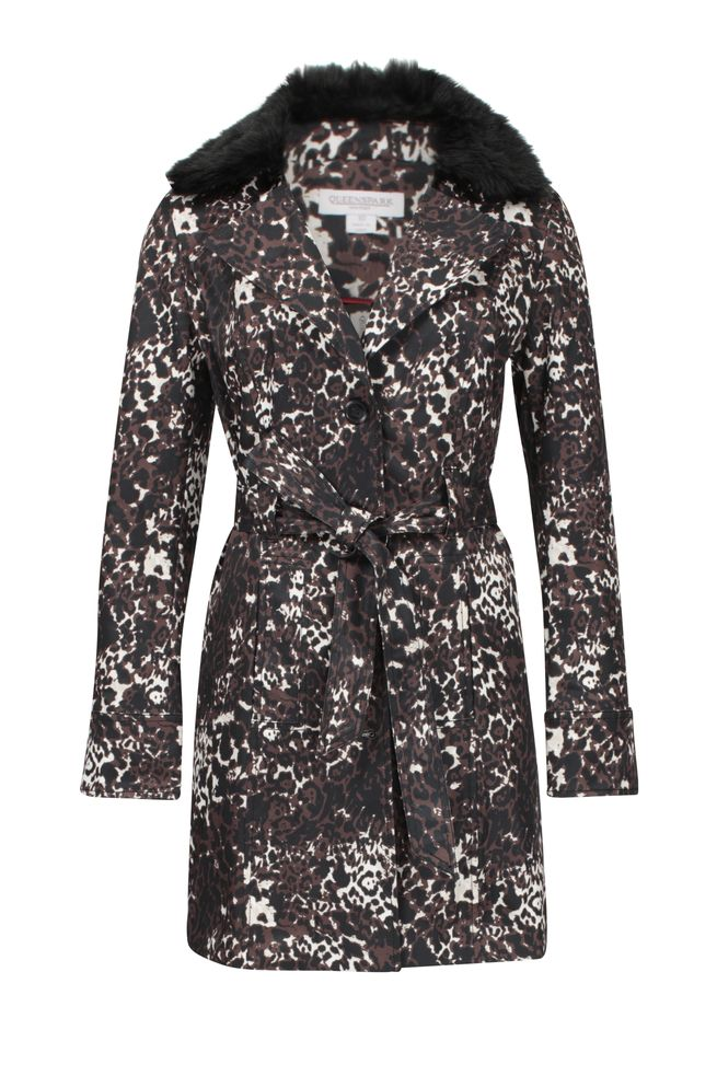 by Queenspark Print Animal Fur Trench Jacket