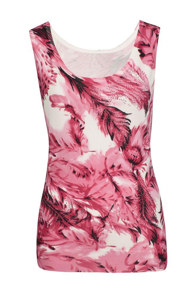 by Queenspark Print Pink Leaf Cami