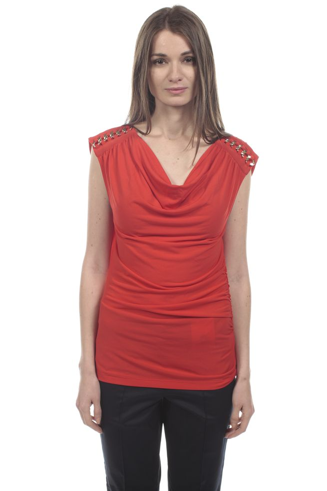 by Queenspark Red Chain Shoulder Top