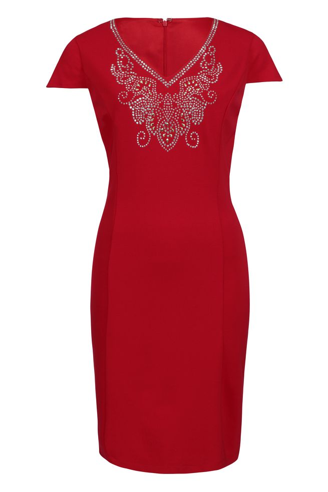 by Queenspark Red Ponti Iron Beaded Dress