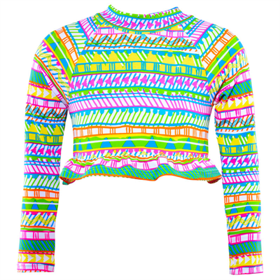 Vest by Cupid Girl Tribal Paint Long Sleeve Frill Rash Vest