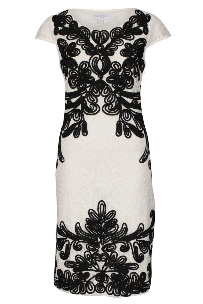 by Queenspark White Embellished Tapework Dress