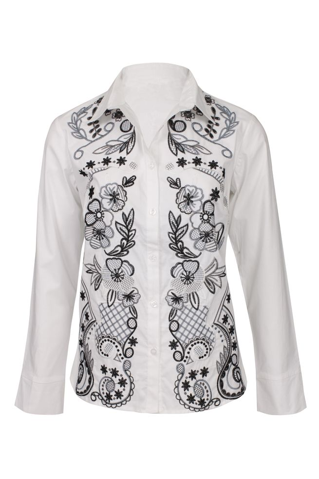 by Queenspark White Embroidered Woven Shirt