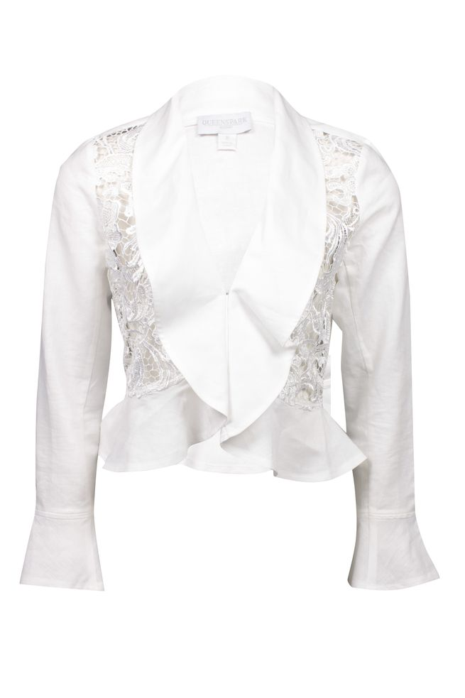 by Queenspark White Lace Ruffle Jacket