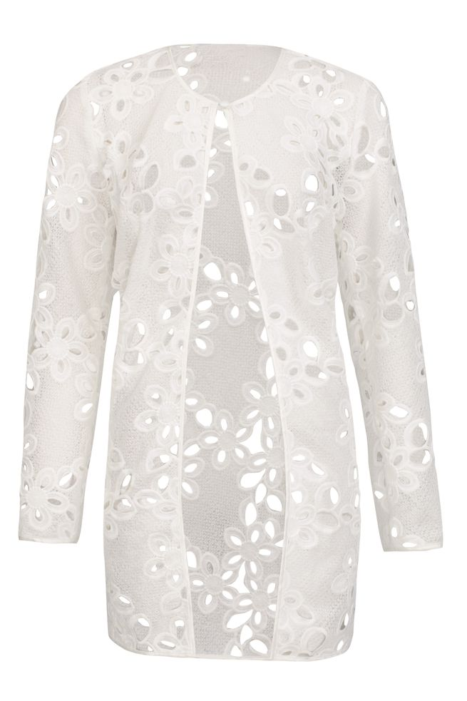 by Queenspark White Longline Lace Jacket
